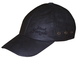 Black Jungle Lederkappe schwarz - Biker Leather Cap -