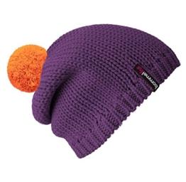 Bommel Mütze Beanie No.1 in der Farbe Lila mit 2 auswechselbaren Bommeln in Orange + Rot -
