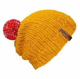 """bommelME """"Beanie Handmade"""" Handgestrickte Bommelmütze mit reflektierendem Wechselbommel, Strickmütze aus Merino Wolle mit abnehmbarem Bommel, Mütze: Gelb / Bommel: Rot reflect -"""