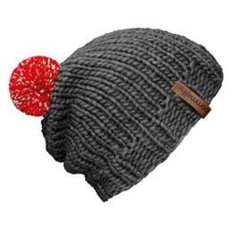 """bommelME """"Beanie Handmade"""" Handgestrickte Bommelmütze mit reflektierendem Wechselbommel, Strickmütze aus Merino Wolle mit abnehmbarem Bommel, Mütze: Grau / Bommel: Rot reflect -"""