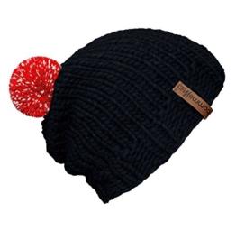"""bommelME """"Beanie Handmade"""" Handgestrickte Bommelmütze mit reflektierendem Wechselbommel, Strickmütze aus Merino Wolle mit abnehmbarem Bommel, Mütze: Anthrazit / Bommel: Rot reflect -"""