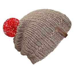 """bommelME """"Beanie Handmade"""" Handgestrickte Bommelmütze mit reflektierendem Wechselbommel, Strickmütze aus Merino Wolle mit abnehmbarem Bommel, Mütze: Sand / Bommel: Rot reflect -"""