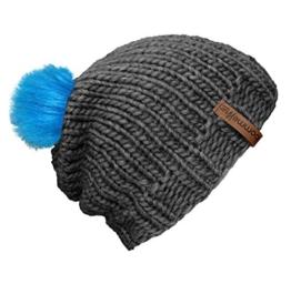 """bommelME """"Beanie Handmade"""" Handgestrickte Bommelmütze mit Wechsel Fellbommel, Strickmütze aus Merino Wolle mit abnehmbarem Bommel, Mütze: Grau / Bommel: Fell Neonblau -"""