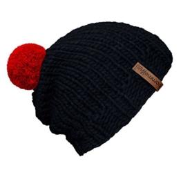 """bommelME """"Beanie Handmade"""" Handgestrickte Bommelmütze mit Wechselbommel, Strickmütze aus Merino Wolle mit abnehmbarem Bommel, Mütze: Anthrazit / Bommel: Rot -"""