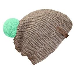"""bommelME """"Beanie Handmade"""" Handgestrickte Bommelmütze mit Wechselbommel, Strickmütze aus Merino Wolle mit abnehmbarem Bommel, Mütze: Sand / Bommel: Mint -"""