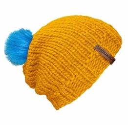 """bommelME """"Beanie Handmade"""" Handgestrickte Bommelmütze mit Wechsel Fellbommel, Strickmütze aus Merino Wolle mit abnehmbarem Bommel, Mütze: Gelb / Bommel: Fell Neonblau -"""