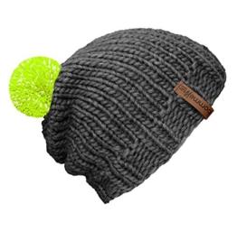 """bommelME """"Beanie Handmade"""" Handgestrickte Bommelmütze mit reflektierendem Wechselbommel, Strickmütze aus Merino Wolle mit abnehmbarem Bommel, Mütze: Grau / Bommel: Neongelb reflect -"""