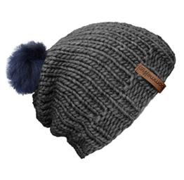 """bommelME """"Beanie Handmade"""" Handgestrickte Bommelmütze mit Wechsel Fellbommel, Strickmütze aus Merino Wolle mit abnehmbarem Bommel, Mütze: Grau / Bommel: Fell Blau -"""