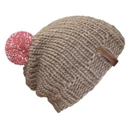"""bommelME """"Beanie Handmade"""" Handgestrickte Bommelmütze mit reflektierendem Wechselbommel, Strickmütze aus Merino Wolle mit abnehmbarem Bommel, Mütze: Sand / Bommel: Altrosa reflect -"""