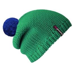 """bommelME """"Beanie No.1"""" Bommelmütze mit Wechselbommel, Strickmütze aus Merino Wolle mit abnehmbarem Bommel, Mütze: Smaragd / Bommel: Blau -"""