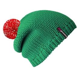 """bommelME """"Beanie No.1"""" Bommelmütze mit reflektierendem Wechselbommel, Strickmütze aus Merino Wolle mit abnehmbarem Bommel, Mütze: Smaragd / Bommel: Rot reflect -"""