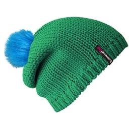 """bommelME """"Beanie No.1"""" Bommelmütze mit Wechsel Fellbommel, Strickmütze aus Merino Wolle mit abnehmbarem Bommel, Mütze: Smaragd / Bommel: Fell Neonblau -"""