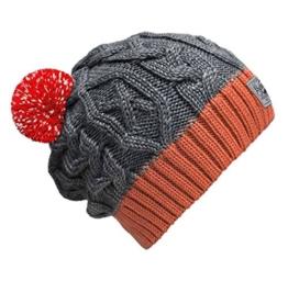 """bommelME """"Beanie No.3"""" Bommelmütze mit reflektierendem Wechselbommel, Strickmütze aus Merino Wolle mit abnehmbarem Bommel, Mütze: Grau-Koralle / Bommel: Rot reflect -"""