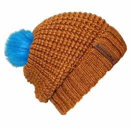 """bommelME """"Beanie No.4"""" Bommelmütze mit Wechsel Fellbommel und Umschlag, Strickmütze aus Merino Wolle mit abnehmbarem Bommel, Mütze: Bronze / Bommel: Fell Neonblau -"""