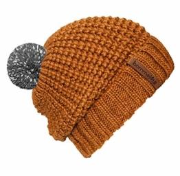 """bommelME """"Beanie No.4"""" Bommelmütze mit reflektierendem Wechselbommel und Umschlag, Strickmütze aus Merino Wolle mit abnehmbarem Bommel, Mütze: Bronze / Bommel: Grau reflect -"""