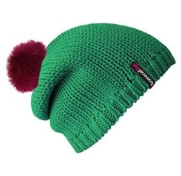 Bommelmütze Beanie No.1 in der Farbe smaragd grün mit 2 auswechselbaren Bommeln aus Kunstfell Pelz in pink + braun -