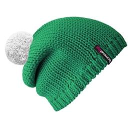 Bommelmütze Beanie No.1 in der Farbe smaragd grün mit 2 auswechselbaren Bommeln in weiß + orange -