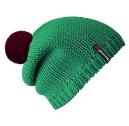 Bommelmütze Beanie No.1 in der Farbe smaragd grün mit 2 auswechselbaren Bommeln in bordeaux + lila -