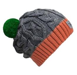 Bommelmütze Beanie No.3 Grau-Orange mit Zopfmuster und 2 auswechselbaren Bommeln in Grün + Braun -