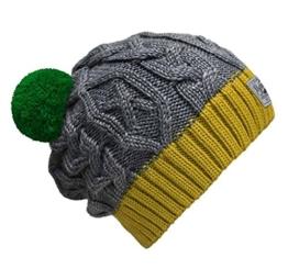 Bommelmütze Beanie No.3 Grau-Gelb mit Zopfmuster und 2 auswechselbaren Bommeln in Grün + Grau -