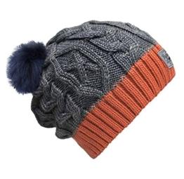 Bommelmütze Beanie No.3 Grau-Orange mit Zopfmuster und 2 auswechselbaren Kunstpelz Bommeln in Blau + Braun -