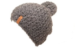 Bommelmütze mit innen Fleece Alpaka Schurwolle Mischung Made in Germany (dunkelgrau) -