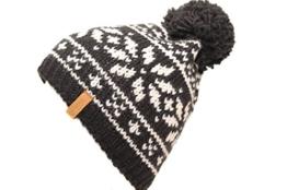 Bommelmütze mit Norwegerstern und innen Fleece Made in Germany (schwarz-weiß-schwarzer Bommel) -