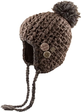Bommelmütze Rebecca - handgemachte Damenmütze mit Fleece innen - Skimütze Bommelmütze mit Ohrenschützern Snowboardmütze Wintersport - handmade (braun) -
