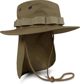 Boonie Hat Krempen Outdoor Hut 'Junglescout' mit abnehmbarem Nackenschutz für den Sommer Farbe Coyote Größe XL -