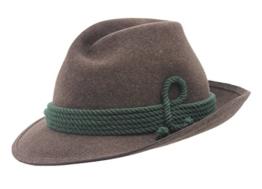 Breiter - brauner Werdenfelser Trachtenhut mit 6er Einschlag für Herren und Damen, reine Handarbeit - 58 -