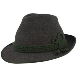 Breiter Herren Trachten-Hut | Filz-Hut | Herren-Hut – Anblick – Handgemacht aus 100% Wolle mit grüner Kordel-Garnitur & Einfassung – Bogart – Wasserabweisend in 3 Farben -
