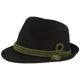 Breiter - Moderner kleiner Trachtenhut für Herren und Damen in zwei Farben - schwarz 59 -