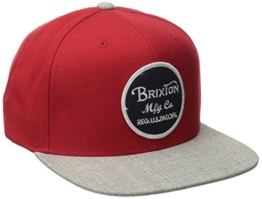 Brixton Unisex Baseballkappe Wheeler Snapback, Red/Light Heather Grey, One Size, BRIMCAPWHES -
