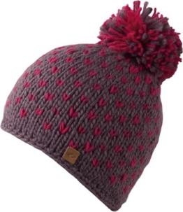 Bronxx Hat - Trendige Strick Beanie mit Bommel für Damen & Herren - handmade - 2013/14, Strickmütze mit Innen-Fleece, Bommelmütze (walnut / bright rose) -