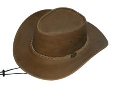 Broome - Cowboyhut aus Rindsleder mit Kinnriemen, Hellbraun, Größe XL -