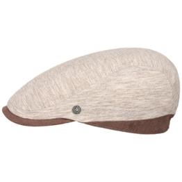 bugatti Twotone Melange Flatcap Schirmmütze Schiebermütze Cap Mütze Leinenmütze Sommermütze Leinencap Schirmmütze (L/59-60 - beige) -