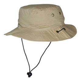 Buschhut Schlapphut Herren Damen Sommer Sonnenschutz UV pro 40+ (56, Beige) -