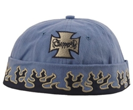 Cap COCO-Caps - ChillOuts blau mit schwarzen Flammen & Chopperkreuz -