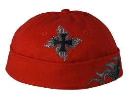 Cap COCO-Caps - ChillOuts in Rot mit schwarzem Kreuz / Flames -