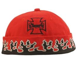 Cap COCO-Caps - ChillOuts - rot mit schwarzen Flammen gerändert -