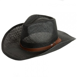 CASPAR Herren Stroh Hut / Panama Hut / im Cowboy Stil mit braunem Gürtelband / Stetson - viele Farben - HT009, Farbe:schwarz;Hutgröße:L/XL - 60cm KU -