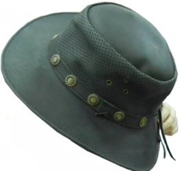 Celebrita Vollrindleder Bullenleder Cowboy Lederhut Schwarz L (60 cm) -