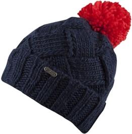 Chelsea -Strick Mütze mit Innenfleece Damenmütze Strickmütze mit trendigen Muster und Bommel-handmade (navy) -