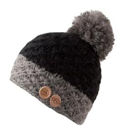 CHILLOUTS Blair Bommelmütze Wintermütze aus Polyester für Damen und Herren schwarz/grau -