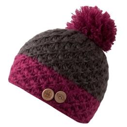 CHILLOUTS Blair Bommelmütze Wintermütze aus Polyester für Damen und Herren braun/rot -