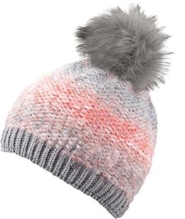Chillouts Damen Mütze Shirley Hat Pudelmütze Strickmütze grey/coral melange -