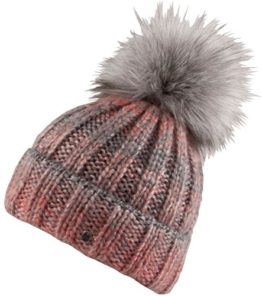 Chillouts Indra Hat Mütze grau meliert lila rot pink Bommel (Rot) -