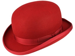 Christys' Fashion Bowler Wollfilz Melone Bowler Filzhut - red XL/60-61 -