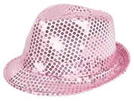 Clubstyle Partyhut Trilby Hut Blink Fedora Bogart Glitzerhut Glitter, Farbe wählen:TH-63 rosa -