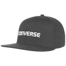 Converse Shield Snapback Cap Flat Brim Flatbrim Basecap Baseballcap Kappe Cap Basecap (One Size - schwarz) -